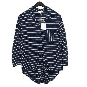 Beachlunchlounge striped tie front nautical top L